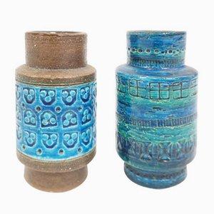 Italienische Keramikvasen in Blau von Aldo Londi für Bitossi, 1960er, 2er Set