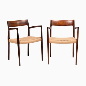Rosewood Model 57 Dining Chairs by Niels Otto Møller for J.L. Møllers, Denmark, 1959, Set of 2