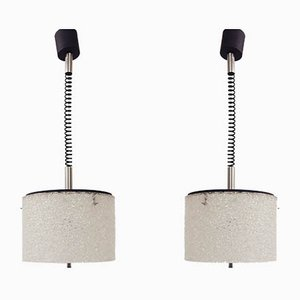 French Adjustable Pendant Lamps, 1960s, Set of 2