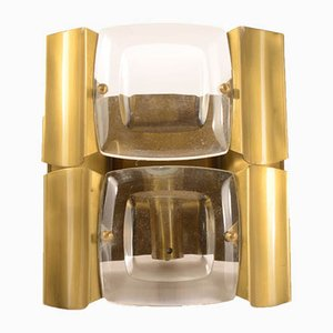 Wall Light in Satin Brass Metal and Bevelled Glass, Italy, 1970s