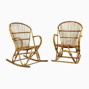 Rocking Chair en Bambou, France, 1960s