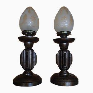 Jugendstil Bronze Tischlampen aus Holz mit Opalglas Schirmen, 2er Set