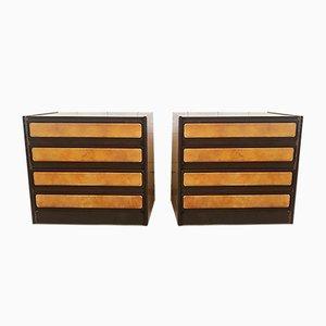 Cassettiera in legno e pelle, Italia, anni '60, set di 2
