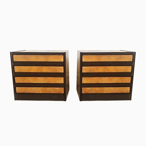 Wood and Leather Chest of Drawers, Italy, 1960s, Set of 2