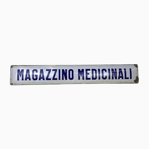 Italian Enamel Metal Sign Medical Warehouse or Magazzino Medicinali, 1940s