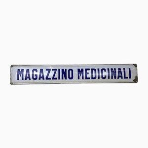 Italienisches Emailliertes Metallschild Krankenhaus oder Magazzino Medicinali, 1940er