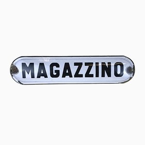 Italian White Enamel Metal Storage Sign Magazzino, 1950s