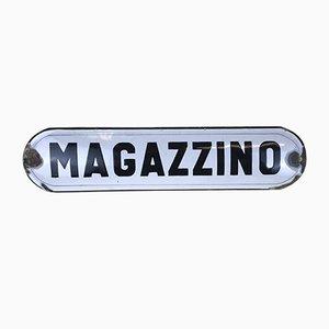 Italienisches weiß emailliertes Metallregal Magazzino, 1950er