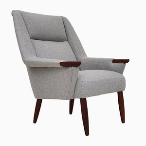 Danish High Back Wool Armchair, 1970s