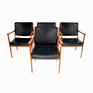 Chaises en Teck et en Cuir, Suède, 1960s, Set de 4