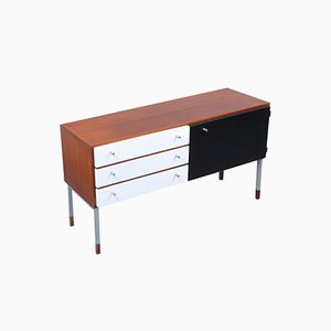 Small Black and White Teak Sideboard by Kho Liang Ie & Wim Crouwel for Fristho, 1950s