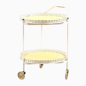 Vintage Folding Rattan & White Metal Tea Cart, 1960s