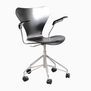 Vintage Black Office Chair by Arne Jacobsen for Fritz Hansen, 1960s