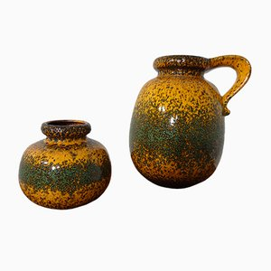 Fat Lava Ceramic Vases from Scheurich, 1970s, Set of 2