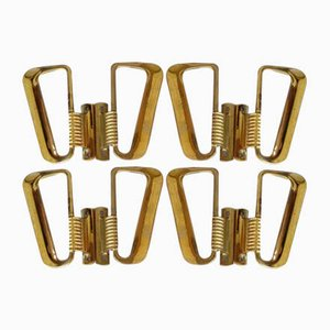 Vintage Brass Handles, 1950s, Set of 8