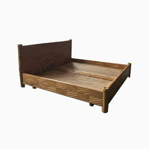 Mid-Century Modern Bamboo King Size Bed