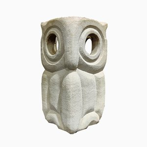 Limestone Owl Table Lamp by Albert Tormos, 1970s