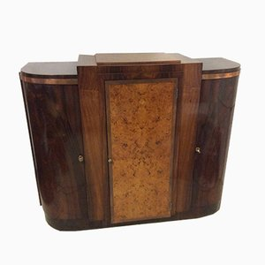 Art Deco French Curved Door Palissander and Maples Burr Sideboard, 1930s
