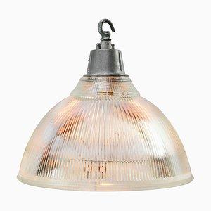 Lampe à Suspension Industrielle Vintage en Verre Transparent et en Métal de Holophane