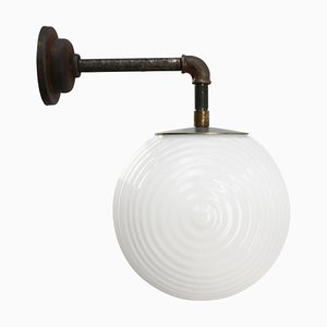 Vintage Industrial White Opaline Glass and Cast Iron Sconce