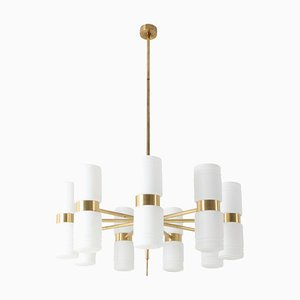 Brass and Opaline Glass Chandelier by Hans-Agne Jakobsson for Hans-Agne Jakobsson AB Markaryd, 1960s