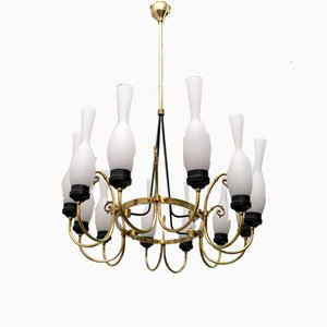 Mid-Century Italian Brass and Opaline Glass Chandelier from Arredoluce, 1950s
