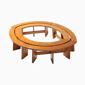 Vintage Curved Elmwood Benches by Pierre Chapo, 1960s, Set of 4
