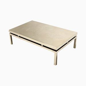 Vintage Brass Coffee Table by Willy Daro, 1970s