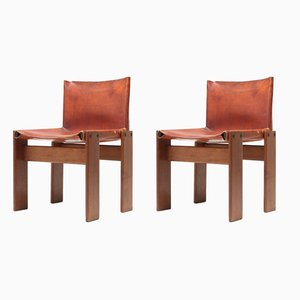 Cognac Leather Monk Chairs by Tobia & Afra Scarpa for Molteni, 1970s, Set of 2