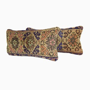 Distressed Oushak Rug Cushions, Set of 2