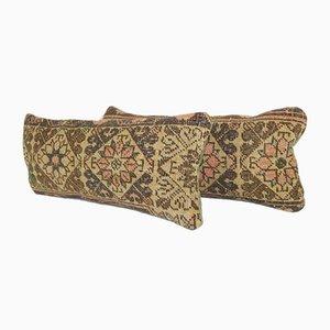 Türkische Handgewebte Tribal Wollteppich-Kissen, 2er Set