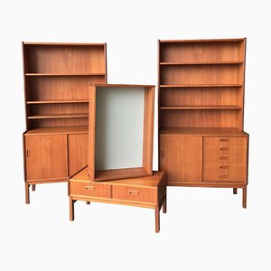 Swedish Teak Bookshelves, 1960s, Set of 4