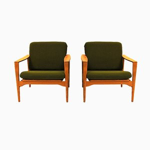 Mid-Century Danish Model Ek Lounge Chairs by Illum Wikkelsø for Niels Eilersen, 1960s, Set of 2