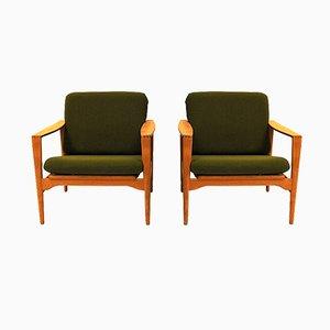 Mid-Century Danish Model Ek Lounge Chairs by Illum Wikkelsø for Niels Eilersen, 1960s, Set of 2