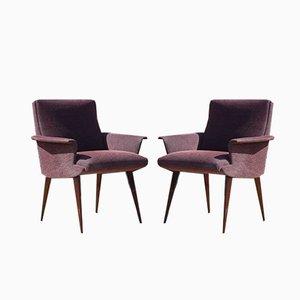 Sessel aus Lila Samt und Lackiertem Holz, Frankreich, 1950er, 2er Set