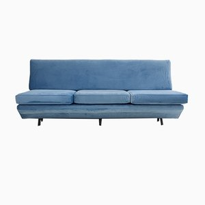 Sleep-O-Matic Blue Velvet Sofa by Marco Zanuso for Arflex, 1960s