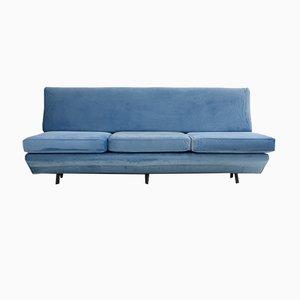 Sleep-O-Matic Blue Velvet Sofa by Marco Zanuso for Arflex, 1960s