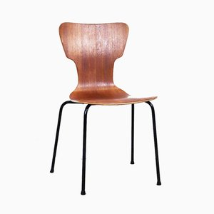 Swedish Teak and Black Metal Side Chair, 1960s
