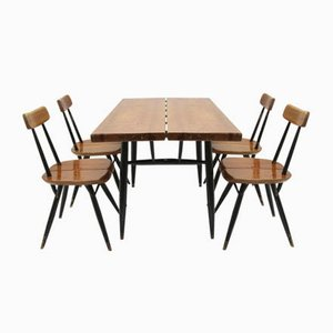 Scandinavian Pirkka Dining Table & Chairs Set from Ilmari Tapiovaara, 1950s, Set of 5