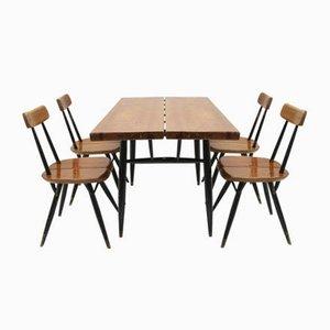 Skandinavischer Pirkka Esstisch & Stühle von Ilmari Tapiovaara, 1950er, 5er Set