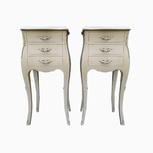 Louis XV Style Shabby Chic Nightstands, 1950s, Set of 2