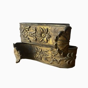 Antike Vorhanghalter aus vergoldetem Metall, 2er Set