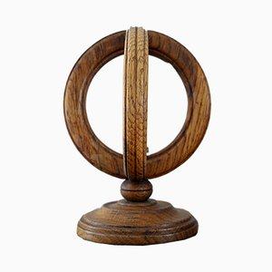 Kugelförmige französische Tischlampe aus hellem Holz, 1950er