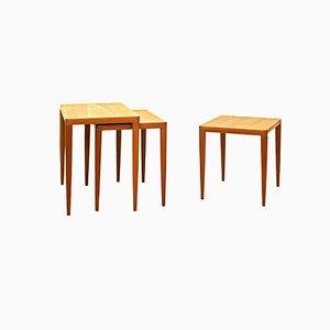 Tavoli ad incastro in teak di HW Klein per Bramin, Danimarca, anni '60, set di 3