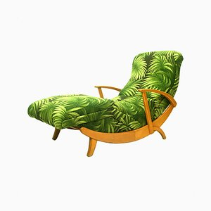 German Beech and Palm Chaise Lounge, 1950s