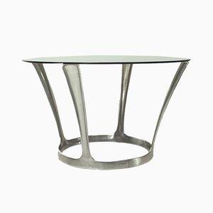 Tavolo da pranzo in alluminio e vetro fumé di Boris Tabacoff, Francia, anni '60