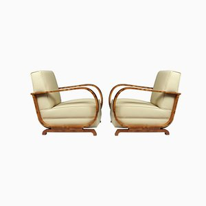 Art Deco Italian Leather and Walnut Armchairs, 1930s, Set of 2