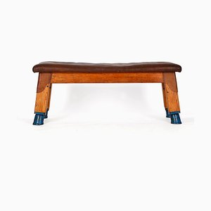 Vintage Leather Bench, 1930s