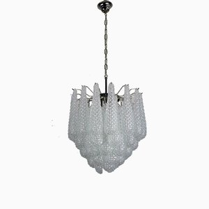 Vintage Italian Murano Glass Chandelier with 41 Glass Petals, 1980
