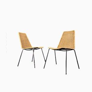 Rattan Esszimmerstühle von Gian Franco Legler, 1950er, 2er Set
